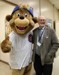 1970 Chicago Cubs book author William S Bike with Cubs mascot Clark